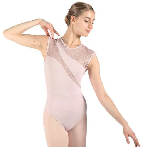 Taglia Basilica Contemporary Dance Leotard Karen Tactel Lace Panels Dusty Pink